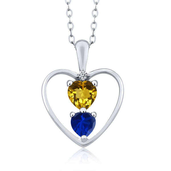 Gem Stone King 0.95 Ct Heart Shape Red Garnet Blue Simulated Sapphire 14K Yellow Gold Pendant