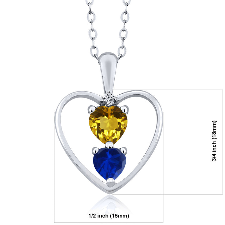 0.95 Ct Heart Shape Red Garnet Blue Simulated Sapphire 14K Yellow Gold Pendant