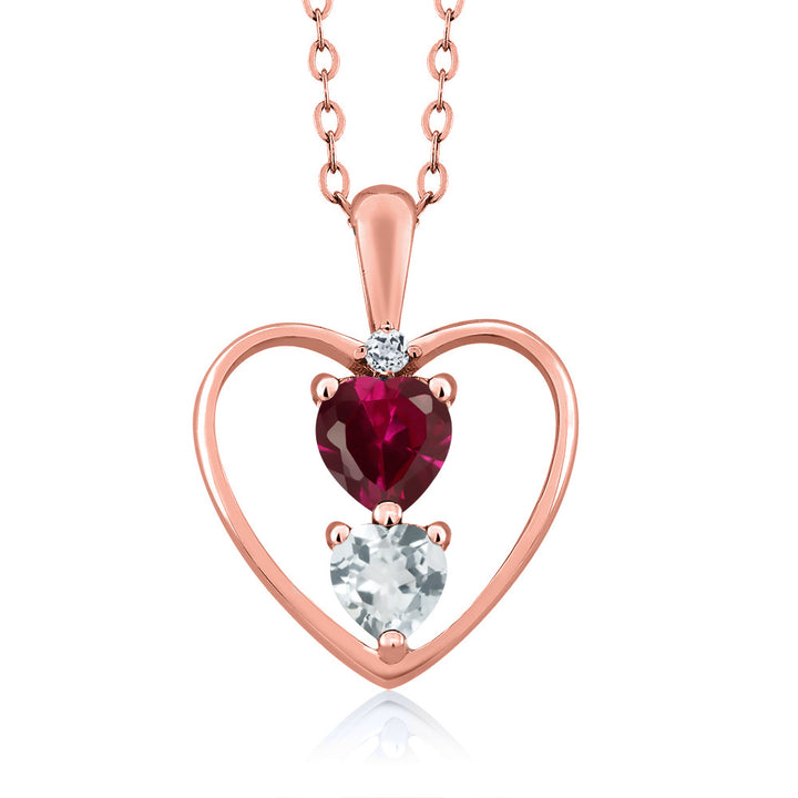 Gem Stone King 0.89 Ct Red Created Ruby Sky Blue Aquamarine 18K Rose Gold Plated Silver Pendant