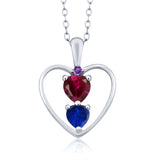 Gem Stone King 1.11 Ct Red Created Ruby Blue Simulated Sapphire 925 Sterling Silver Pendant
