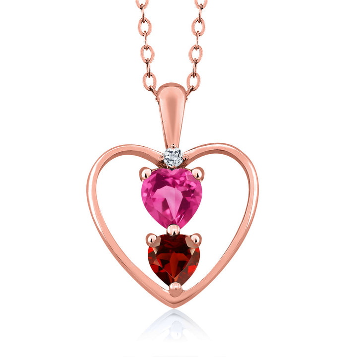 Gem Stone King 0.94 Ct Pink Created Sapphire Red Garnet 18K Rose Gold Plated Silver Pendant