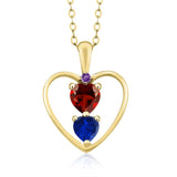 Gem Stone King 1.06 Ct Red Garnet Blue Simulated Sapphire 18K Yellow Gold Plated Silver Pendant