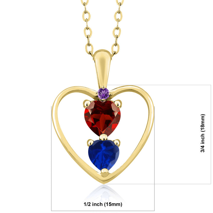 1.06 Ct Red Garnet Blue Simulated Sapphire 18K Yellow Gold Plated Silver Pendant