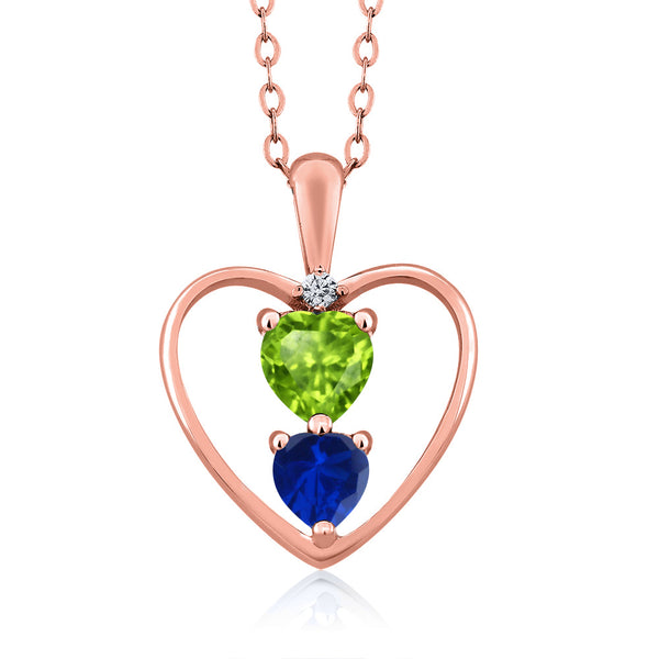 Gem Stone King 1.01Ct Green Peridot Blue Simulated Sapphire 18K Rose Gold Plated Silver Pendant