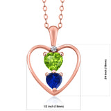 1.01Ct Green Peridot Blue Simulated Sapphire 18K Rose Gold Plated Silver Pendant