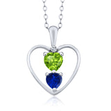 Gem Stone King 0.90 Ct Heart Shape Green Peridot Blue Simulated Sapphire Silver Pendant