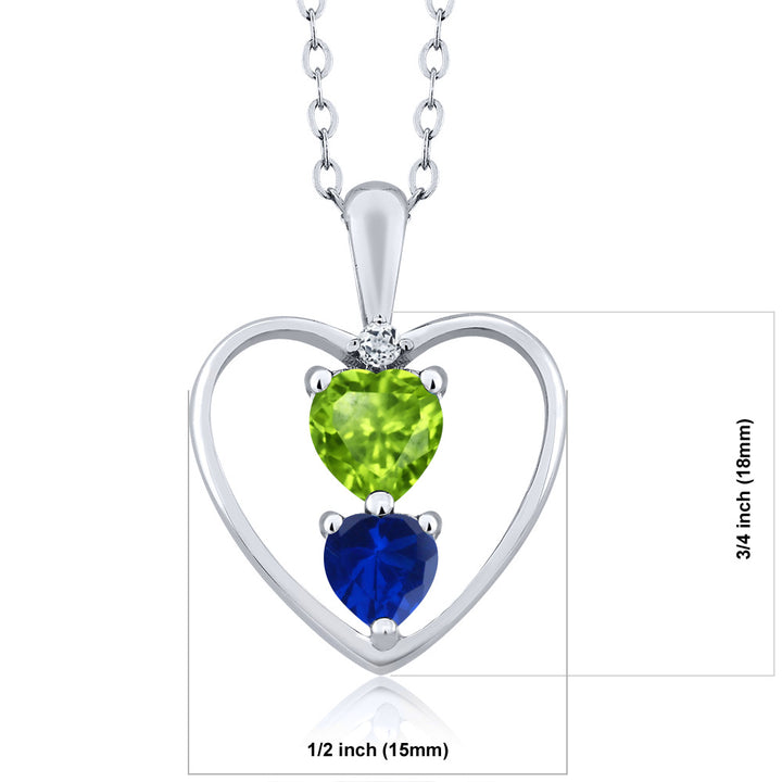 0.90 Ct Heart Shape Peridot and Simulated Sapphire 925 Sterling Silver Pendant