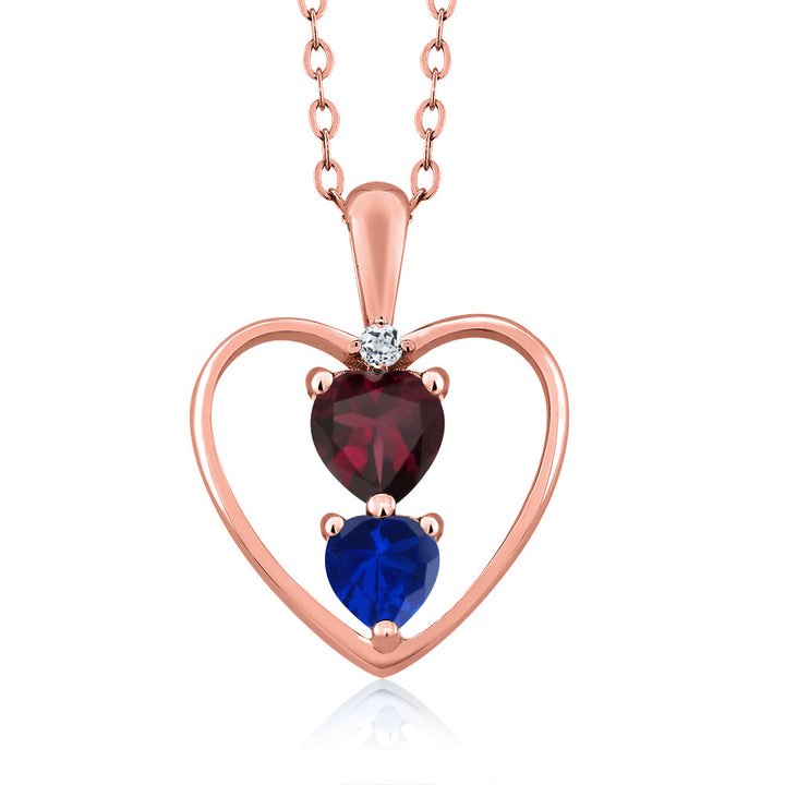 Gem Stone King 1.06 Ct Rhodolite Garnet Simulated Sapphire 18K Rose Gold Plated Silver Pendant