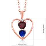 1.06 Ct Rhodolite Garnet Simulated Sapphire 18K Rose Gold Plated Silver Pendant