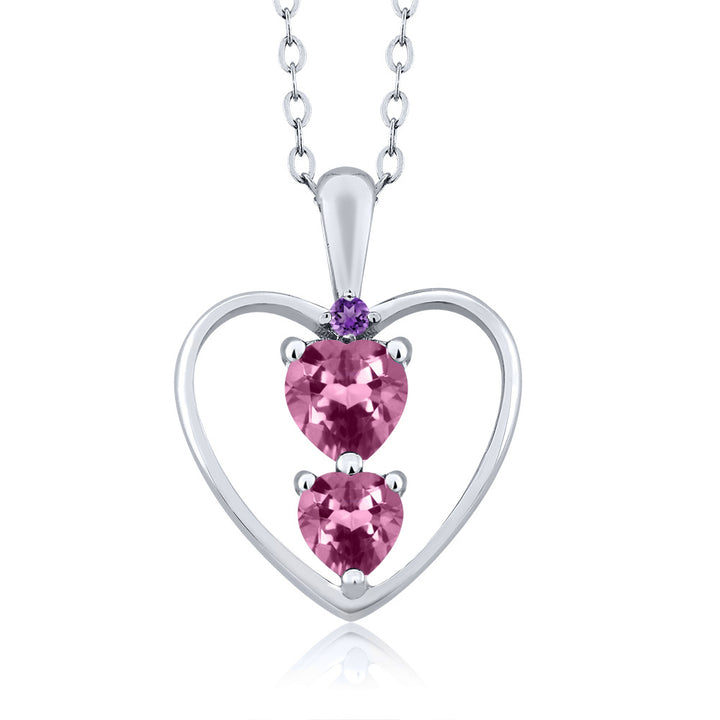 Gem Stone King 0.66 Ct Heart Shape Pink Tourmaline 925 Sterling Silver Pendant