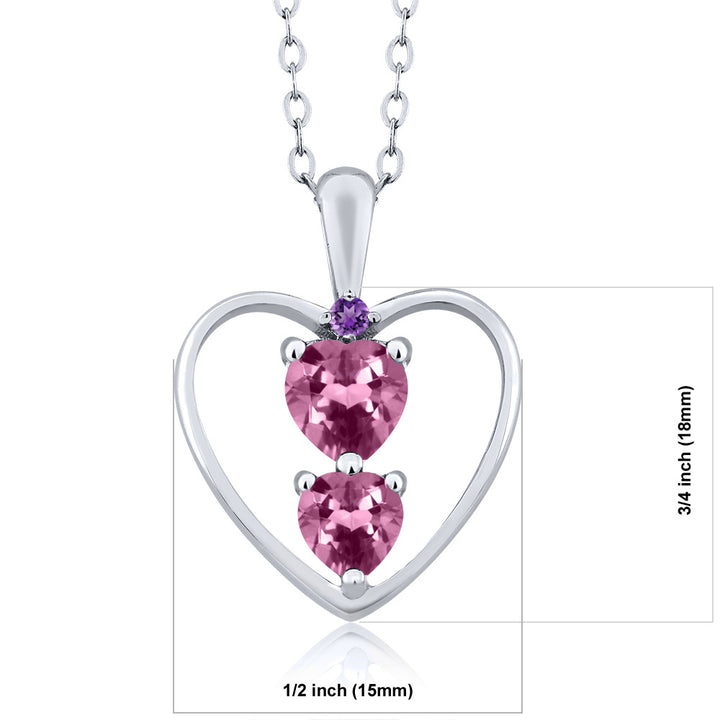 0.66 Ct Heart Shape Pink Tourmaline 925 Sterling Silver Pendant