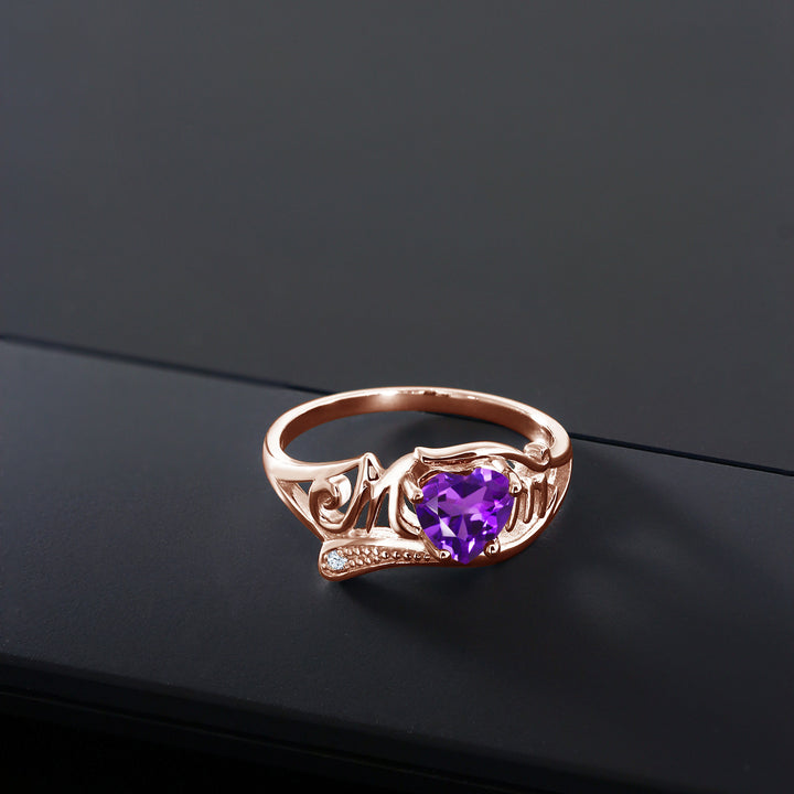 0.66 Ct Heart Shape Purple Amethyst 18K Rose Gold Plated Silver MOM Ring