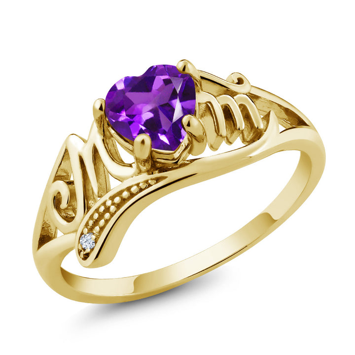 Gem Stone King 0.66 Ct Purple Amethyst White Topaz 18K Yellow Gold Plated Silver Ring