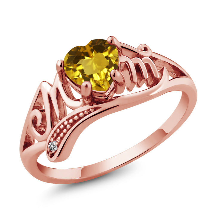 Gem Stone King 0.71 Ct Yellow Citrine White Diamond 18K Rose Gold Plated Silver Ring