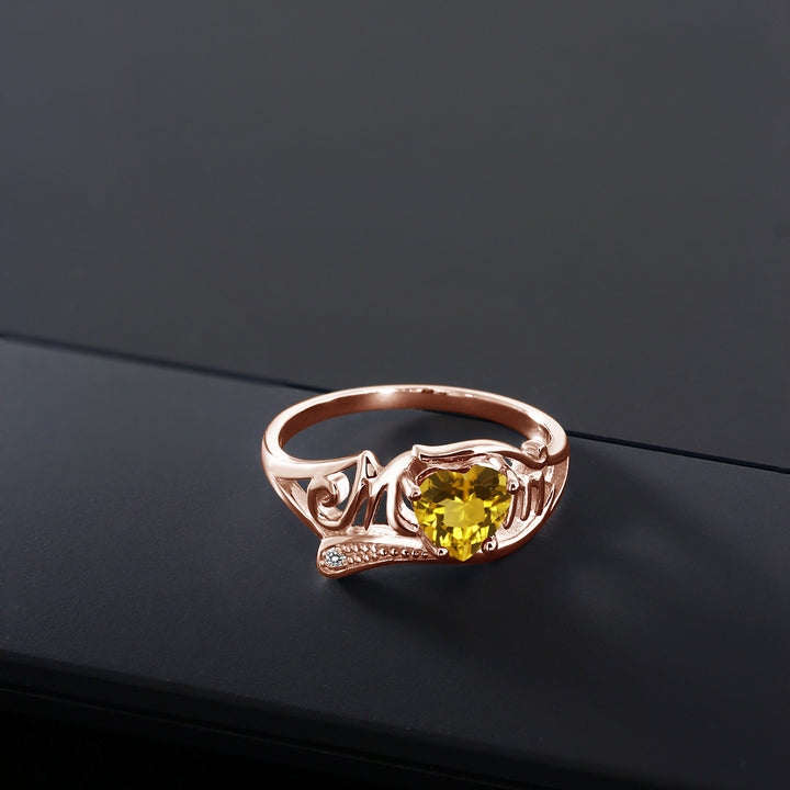 0.71 Ct Yellow Citrine White Diamond 18K Rose Gold Plated Silver MOM Ring