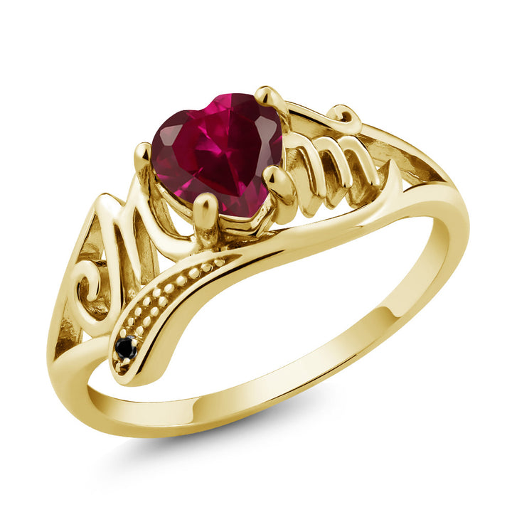Gem Stone King 0.97 Ct Red Created Ruby Black Diamond 18K Yellow Gold Plated Silver Ring