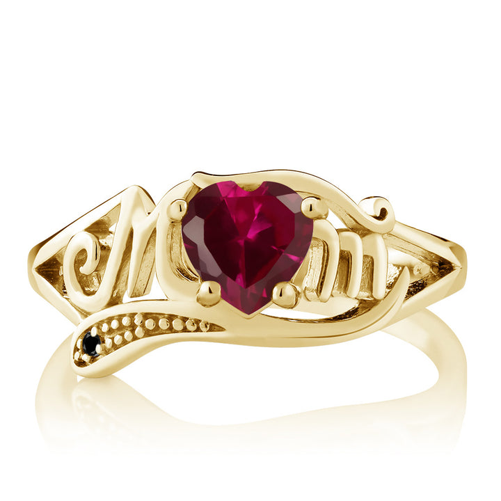 0.97 Ct Red Created Ruby Black Diamond 18K Yellow Gold Plated Silver MOM Ring