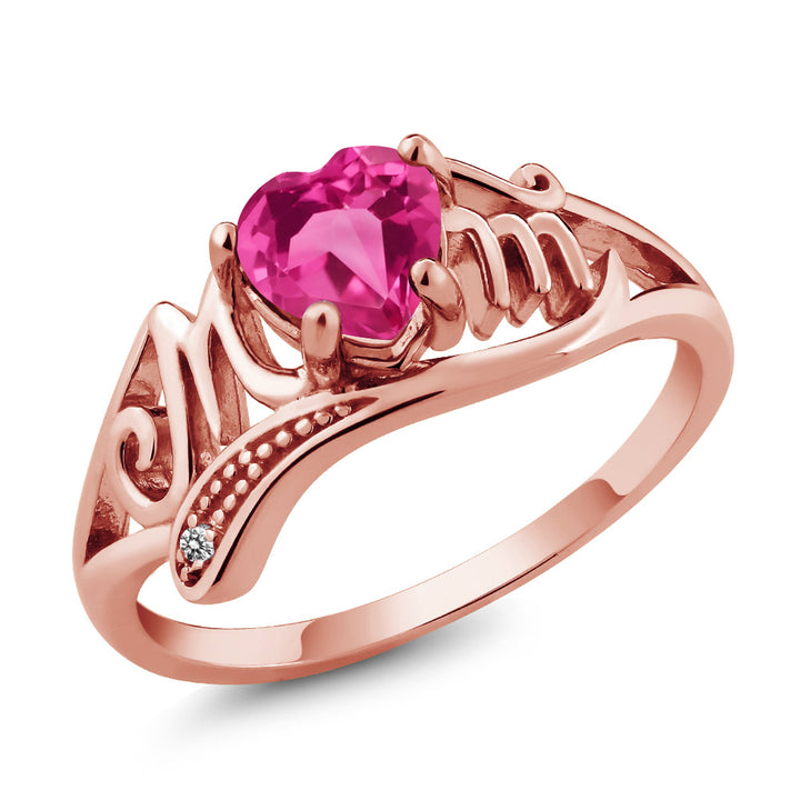 Gem Stone King 0.81 Ct Pink Created Sapphire White Diamond 18K Rose Gold Plated Silver Ring