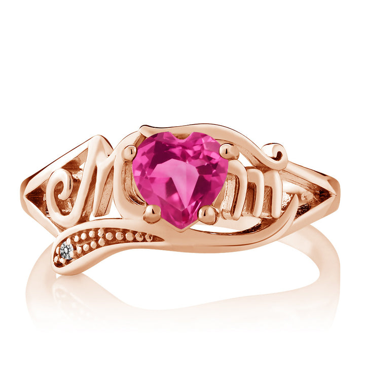 0.81 Ct Pink Created Sapphire White Diamond 18K Rose Gold Plated Silver MOM Ring