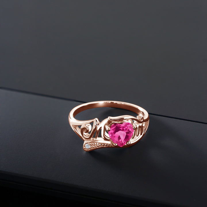 0.81 Ct Pink Created Sapphire White Topaz 18K Rose Gold Plated Silver MOM Ring