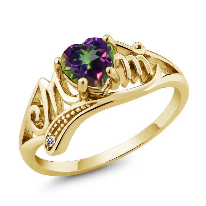 Gem Stone King 0.96 Ct Green Mystic Topaz White Diamond 18K Yellow Gold Plated Silver Ring