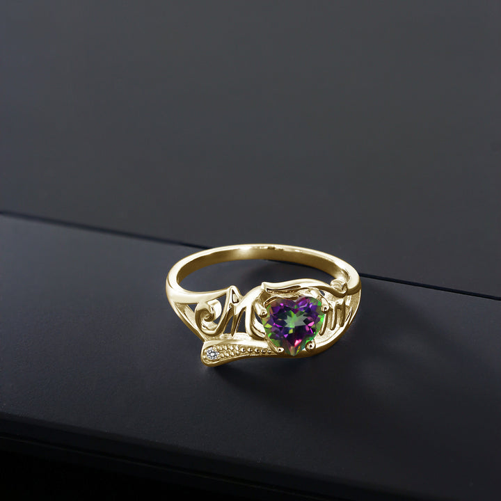 0.96 Ct Green Mystic Topaz White Diamond 18K Yellow Gold Plated Silver MOM Ring