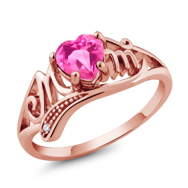 Gem Stone King 0.96 Ct Heart Shape Pink Mystic Topaz 18K Rose Gold Plated Silver Ring