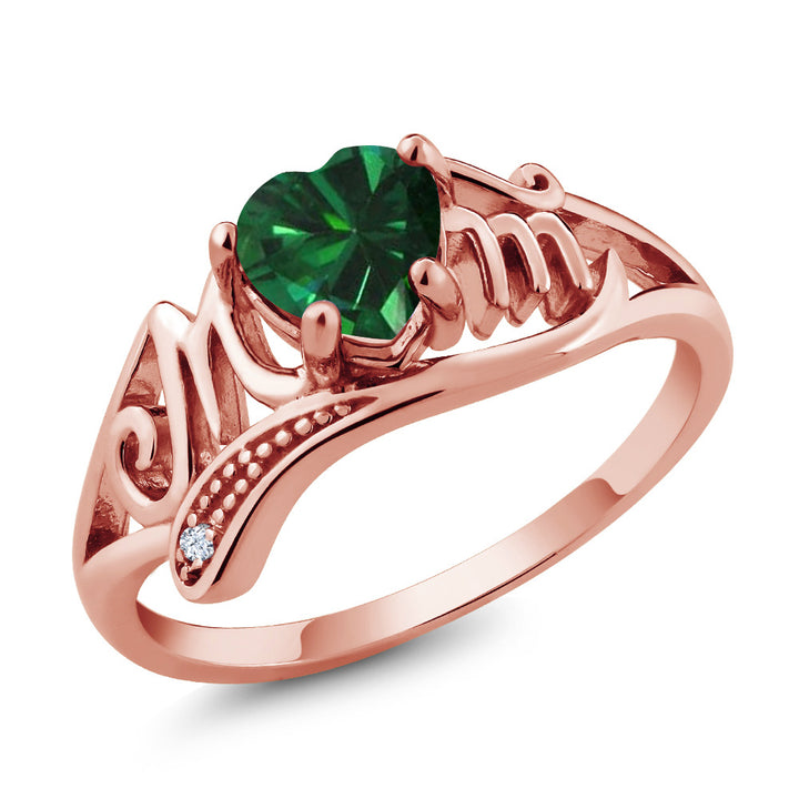 0.69 Ct Green Simulated Emerald White Topaz 18K Rose Gold Plated Silver Ring