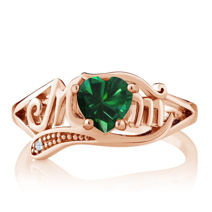 0.69 Ct Green Simulated Emerald White Topaz 18K Rose Gold Plated Silver MOM Ring