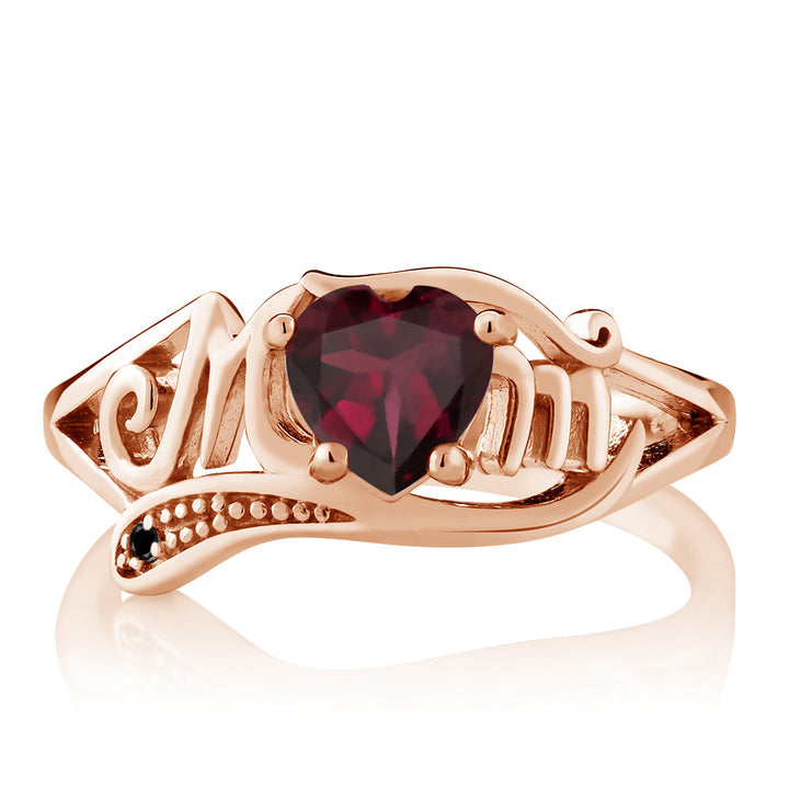0.73 Ct Red Rhodolite Garnet Black Diamond 18K Rose Gold Plated Silver MOM Ring