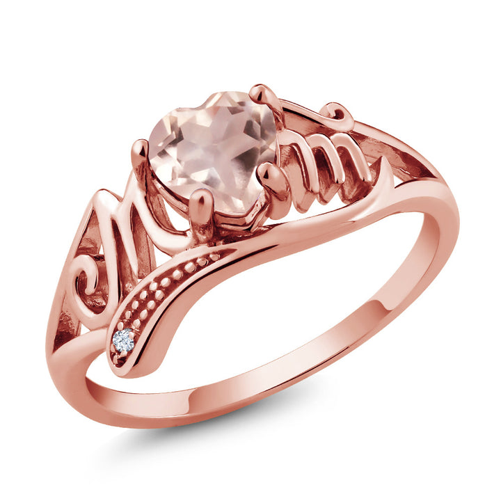 0.71 Ct Rose Rose Quartz White Created Sapphire 18K Rose Gold Plated Silver Ring