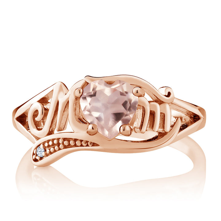 0.71 Ct Rose Rose Quartz White Created Sapphire 18K Rose Gold Plated Silver MOM Ring