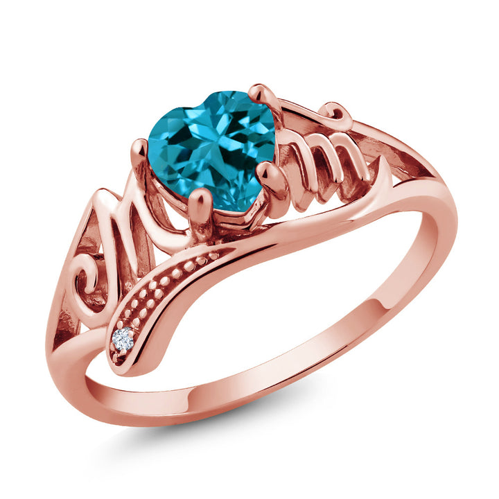 Gem Stone King 0.96Ct London Blue Topaz White Created Sapphire 18K Rose Gold Plated Silver Ring