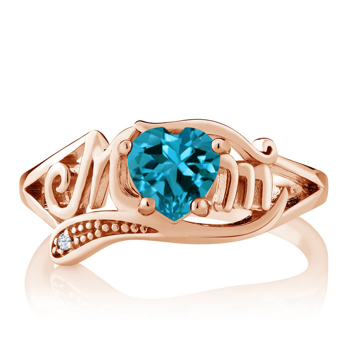 0.96Ct London Blue Topaz White Created Sapphire 18K Rose Gold Plated Silver Ring