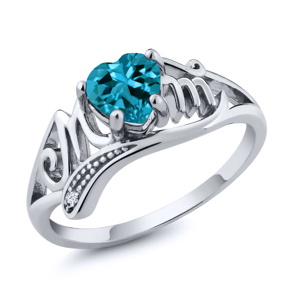 Gem Stone King 0.96 Ct London Blue Topaz White Created Sapphire 925 Sterling Silver Ring