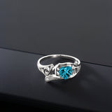 0.96 Ct London Blue Topaz White Created Sapphire 925 Sterling Silver Ring