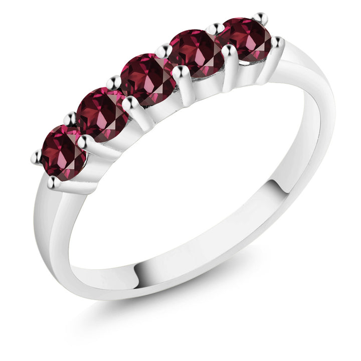 Gem Stone King 1.10 Ct Round Red Rhodolite Garnet 14k White Gold Ring