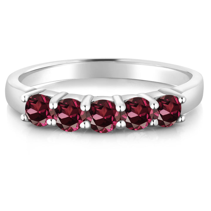 1.10 Ct Round Red Rhodolite Garnet 14k White Gold Wedding Anniversary Ring