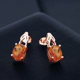 3.60 Ct Oval Twilight Orange Mystic Quartz 18K Rose Gold Plated Silver Earrings