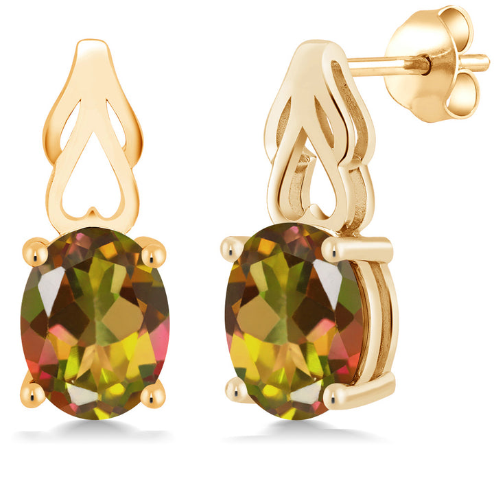 Gem Stone King 3.60 Ct Oval Mango Mystic Topaz 18K Yellow Gold Plated Silver Earrings