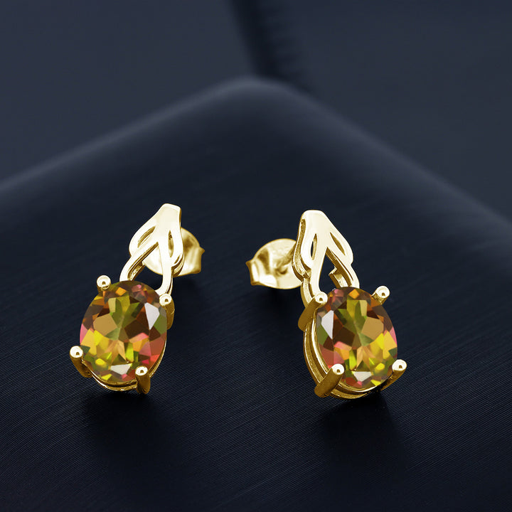 3.60 Ct Oval Mango Mystic Topaz 18K Yellow Gold Plated Silver Earrings