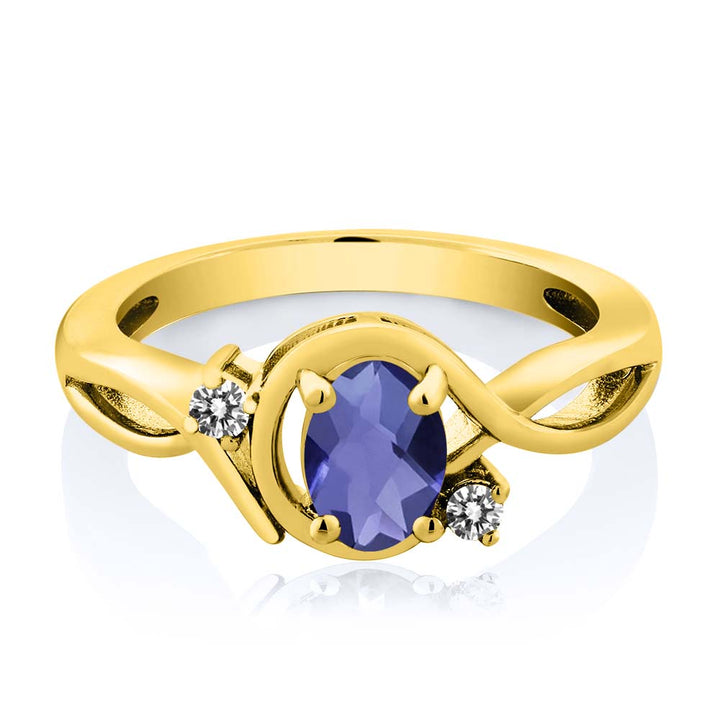 0.72 Ct Oval Checkerboard Blue Iolite White Diamond 18K Yellow Gold Plated Silver Ring