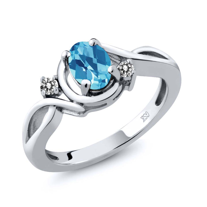 Gem Stone King 1.02 Ct Oval Checkerboard Swiss Blue Topaz White Diamond 925 Sterling Silver Ring
