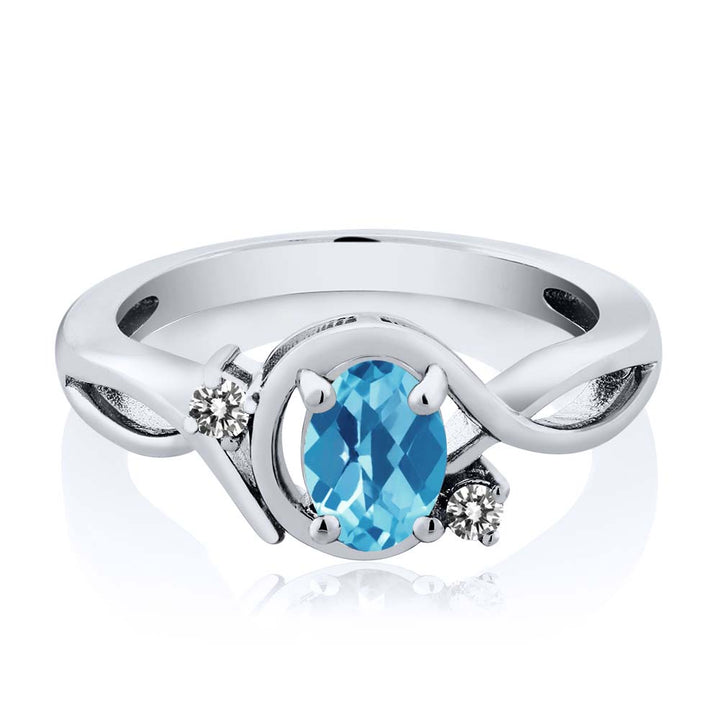 1.02 Ct Oval Checkerboard Swiss Blue Topaz White Diamond 925 Silver Ring