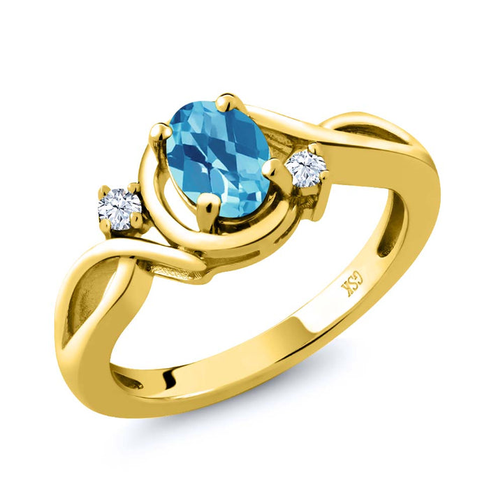 Gem Stone King 1.03 Ct Oval Checkerboard Swiss Blue Topaz White Topaz 18K Yellow Gold Plated Silver Ring