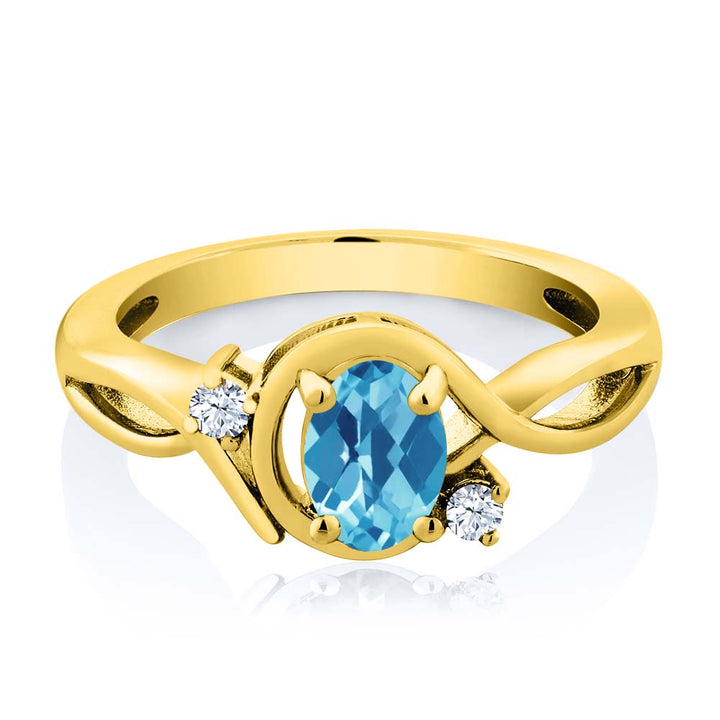 1.03 Ct Oval Checkerboard Swiss Blue Topaz White Topaz 18K Yellow Gold Plated Silver Ring