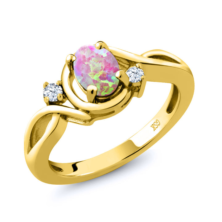Gem Stone King 0.71 Ct Cabochon Pink Simulated Opal & Topaz 18K Yellow Gold Plated Silver Ring