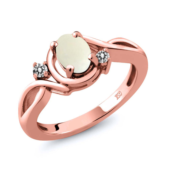 Gem Stone King 0.70 Ct Oval Cabochon White Simulated Opal White Diamond 18K Rose Gold Plated Silver Ring