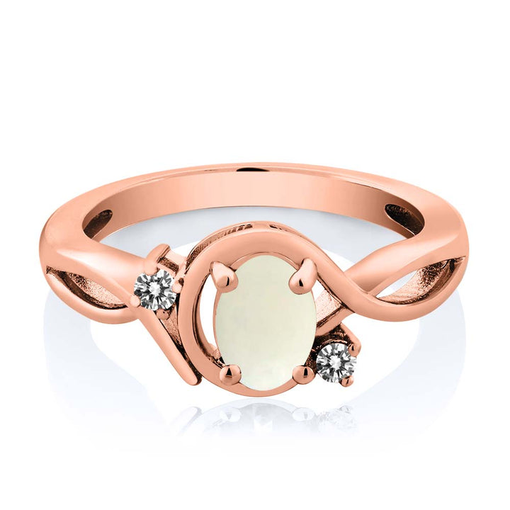 0.70 Ct Oval White Simulated Opal White Diamond 18K Rose Gold Plated Silver Ring