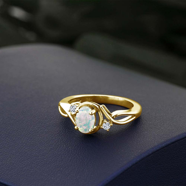 0.71 Ct Oval White Simulated Opal White Topaz 18K Yellow Gold Plated Silver Ring